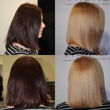Stahování tmavé barvy za pomocí Fiberplex= nenarušené vlasy